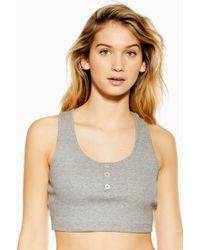 0d77b7b0edcb10 Lyst - TOPSHOP Ribbed Crop Camisole in Gray