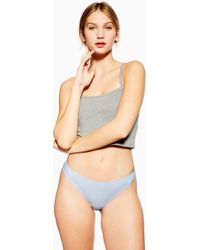 25f3059567df TOPSHOP Satin Thong in Blue - Lyst