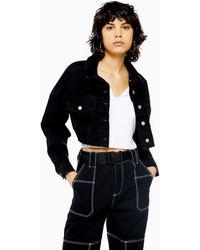TOPSHOP Washed Black Denim Hacked Off Jacket