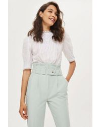 TOPSHOP - Paperbag Tapered Trousers - Lyst