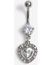 TOPSHOP crystal Heart Drop Belly Bar - Metallic