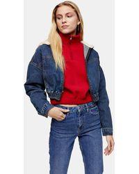 TOPSHOP Veste courte zippée en jean et peau lainée - Bleu