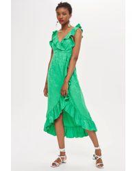 TOPSHOP - Jacquard Ruffle Wrap Midi Dress - Lyst