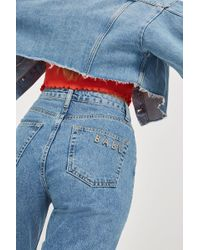 TOPSHOP   Moto Mid Blue Babe Mom Jeans   Lyst