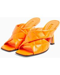 TOPSHOP Skyla Orange Quilted High Mules