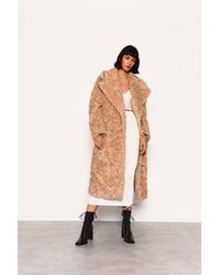 Glamorous teddy Faux Fur Midi Coat By - Natural