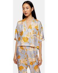 TOPSHOP Chemise de pyjama droite bleue à pois et fleurs