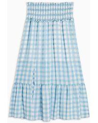 TOPSHOP Blue Gingham Spot Tiered Skirt