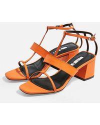 TOPSHOP - Ribbon T-bar Sandals - Lyst