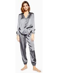 TOPSHOP - Grey Satin Striped Pyjama Trousers - Lyst 3ed12fa06