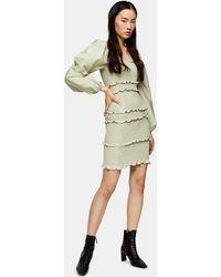 TOPSHOP Sage Shirred Pop Mini Dress - Multicolor