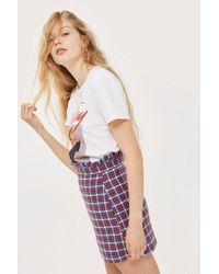 TOPSHOP - Petite Checked Frill Waist Mini Skirt - Lyst