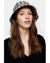 TOPSHOP Black And White Gingham Bucket Hat