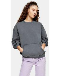 TOPSHOP Charcoal Gray Stonewash Pocket Sweatshirt