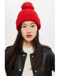 TOPSHOP - Knitted Faux Fur Pom Hat - Lyst
