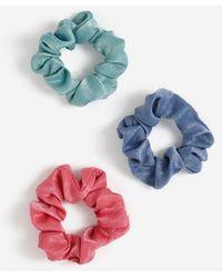 TOPSHOP Pack Of 3 Mini Hair Scrunchies - Blue