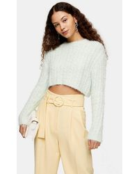 TOPSHOP Green Fluffy Cable Crop Knitted Jumper - Multicolour
