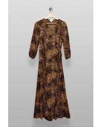 TOPSHOP Tallanimal Print Kimono Wrap Midi Dress - Natural