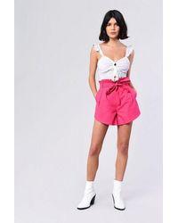 Glamorous paperbag Shorts By - Pink