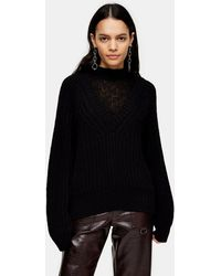 TOPSHOP Cocoon Slouchy Insert Neck Sweater - Black