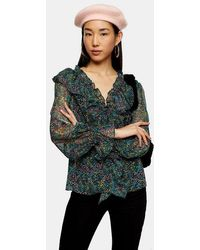 TOPSHOP - Ditsy Floral Print Blouse - Lyst