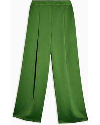 TOPSHOP Green Satin Suit Pants