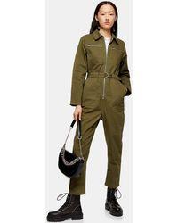 TOPSHOP Combinaison ample style militaire - Vert