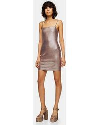 TOPSHOP - Rose Gold Holographic Bodycon Mini Dress - Lyst