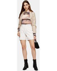 TOPSHOP Short Editor en jean blanc à taille mi-haute