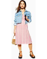 TOPSHOP Petite Shirred Midi Dress