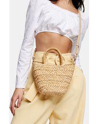 TOPSHOP Rhodes Mini Straw Weave Tote Bag - Natural