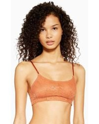 TOPSHOP Lace Skinny Crop Top - Multicolour