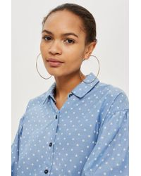 TOPSHOP - Chambray Star Printed Shirt - Lyst