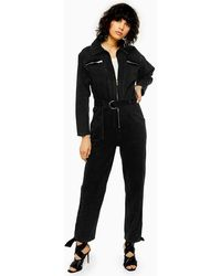 TOPSHOP - Idol Black Denim Boiler Suit - Lyst