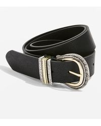 TOPSHOP - Denim Leather Look Belt - Lyst