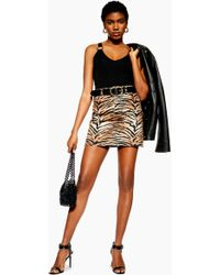 f2a556f6bde4 TOPSHOP Petite Metallic Leopard Print A-line Skirt in Metallic - Lyst