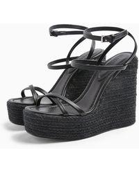 TOPSHOP Willa Black Wedge Sandals