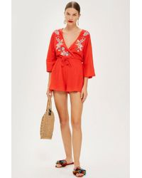 TOPSHOP - Embroidered Jersey Playsuit - Lyst
