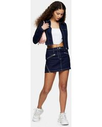 TOPSHOP Considered Indigo Denim Low Rise Pelmet Skirt - Blue