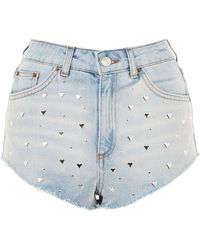 TOPSHOP - Moto Heart Stud Kiri Shorts - Lyst