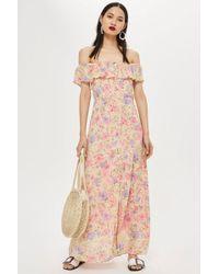 TOPSHOP - Petite Floral Bardot Maxi Dress - Lyst