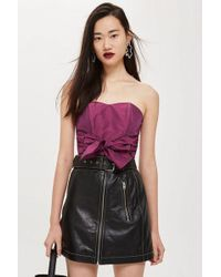 TOPSHOP Taffeta Sweetheart Bandeau Top - Purple