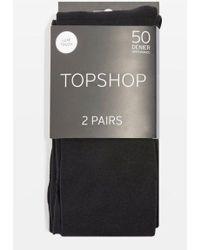 TOPSHOP - 2 Pack 50 Denier Tights - Lyst