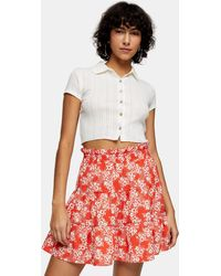 TOPSHOP Shirred Floral Print Mini Skirt