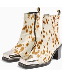 TOPSHOP Arshal Western Animal Print Leather Boots - Natural