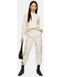 TOPSHOP Pantalon style militaire en simili cuir écru - Neutre
