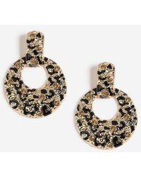 TOPSHOP - Leopard Drop Rhinestone Earrings - Lyst