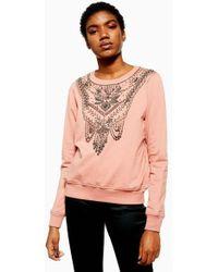 TOPSHOP - Necklace Embellished Sweatshirt - Lyst