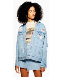 TOPSHOP - Ripped Denim Jacket - Lyst