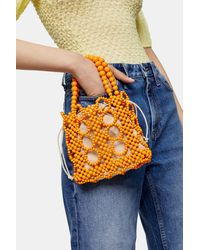 TOPSHOP Orange Beaded Mini Grab Bag